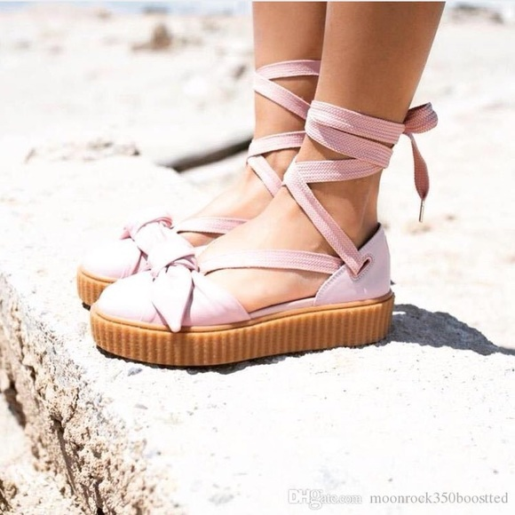 "info for 85af7 af588 FENTY PUMA Rihanna Pink ""Bow Creepers"" Size 8 NEW NWT"